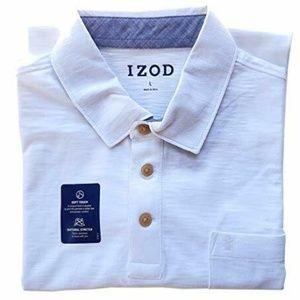 IZOD Men's Short Sleeve Cotton Slub Polo Shirt XL